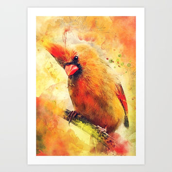 Cardinal bird #cardinal #bird #animals Art Print by jbjart