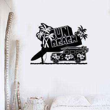 Wall Sticker Vinyl Decal Sun Sea Beach Vacation Relax Car tropical Palm Unique Gift (ig1255)