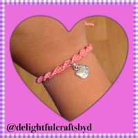 Pink spiral hello kitty hemp bracelet
