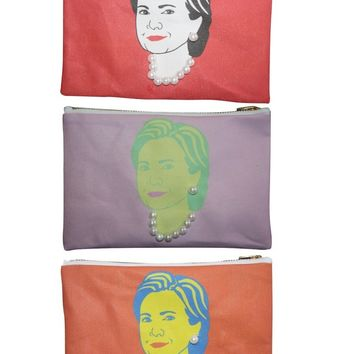 Limited Edition Hillary Clinton Makeup Bag, Wearing Pearls - Available in Orange, Pink & Red