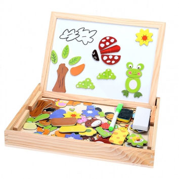 New Fantastic Wooden Animal Magnetism Easel Doodle Drawing Board Jigsaw Blackboard Toy For Children