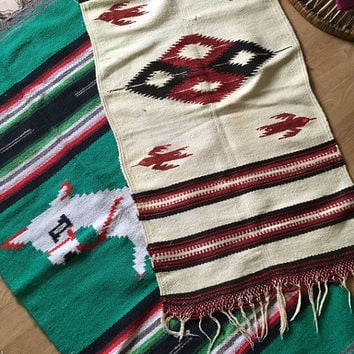 Woven Native American Wall Hanging, Vintage South American Textile Wall Hanging, Landscape Woven Wool Rug, Hand Loomed Wool Rug