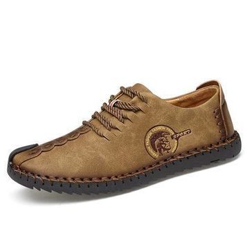 Men's Comfortable Casual Split Leather Flat Loafer Moccasin Shoes