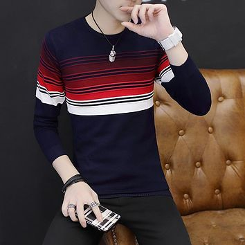 2017 autumn men's sweater wild trendy long-sleeved sweater stripes fashion personality long-sleeved sweater tide