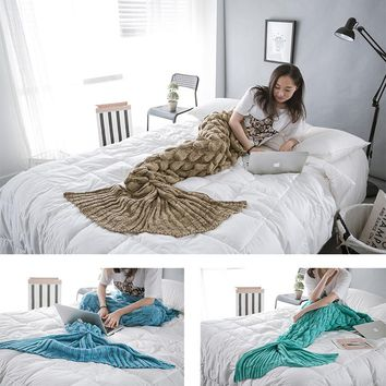 KNITTED&HOME  Knitted Mermaid Tail Blanket Adult/Child/Baby Mermaid Blanket Knit Cashmere-Like TV Sofa Blanket
