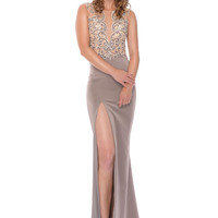 Precious Formals L61022 Beaded Sheer Illusion Top Prom Dress