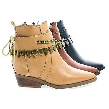 Pamee05 Brown Pu By Bumper, Cowgirl Lace Up Chain Accent Strap Ankle Women's Western Boots
