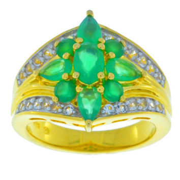Green Agate Ring 14Kt Yellow Gold Plated