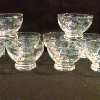 Hand Etched Crystal Desert Glasses, Ice Cream Glasses, Sherbet Glasses,  Set of 10  (1259)