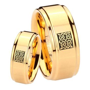 His Her Glossy Step Edges Square Celtic 14K Gold IP Tungsten Wedding Rings Set
