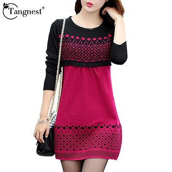 TANGNEST Women Sweater Dress Winter Warm Pullover Causal Slim Patchwork O-neck Empire Full Sleeve Knitted Dresses WQL3203