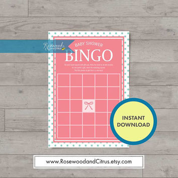 Pink Baby Shower Games, Baby Shower Bingo, Ribbon, Baby Shower for a Girl, Matching Baby Shower, Polka Dot Baby Shower Printables