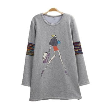 2017 New Autumn Winter Fashion Character Printing Sweatshirt Women Casual Long Hoodie Dress Cashmere Pullover Moletom Feminina