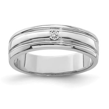 925 Sterling Silver Rhodium-plated Diamond Band Ring