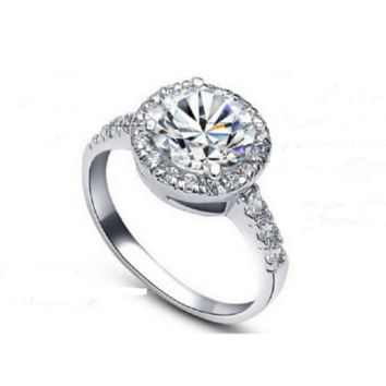 Cubic Zirconia Diamond Silver Plated Rings for Women Wedding Bridal Engagement Ring