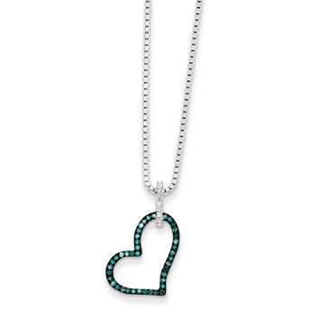 1/6 Ctw Blue & White Diamond Open Heart Necklace in Sterling Silver