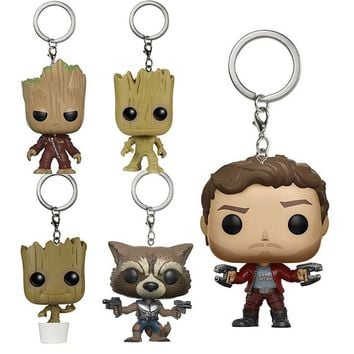 Action Figure Guardians Of The Galaxy Key Ring Super Cute Grout Star Lord Rocket Raccoon Collectible Model Toys Gift