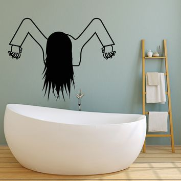 Vinyl Wall Decal Horror Movie Character Funny Halloween Girl For Bathroom Stickers (2689ig)