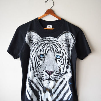 90s White Tiger Black T-Shirt // Mystical Wild Spirit Animal, Crazy Cat Lady Shirt, Soft Grunge Ironic Hipster Style // Sz L