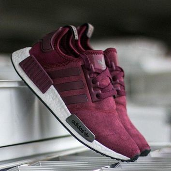 """Adidas"" NMD Fashion Casual Wine Red Boost Casual Sports Shoes G"