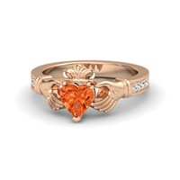 Heart Fire Opal 14K Rose Gold Ring with White Sapphire