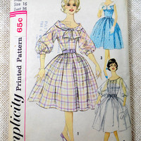 Vintage PatternSimplicity 3431 1950s 1960s party Rockabilly tie neck scarf dress new look full skirt Bust 36 puff sleeve fit and flare