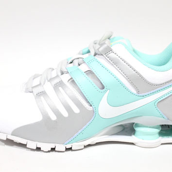 Nike Women's Shox Current White/Teal Running Shoes 639657 109