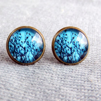 Turquoise mint tree earrings Turquoise studs Tree branch stud earrings Turquoise bird earrings Gift for her