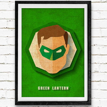 Green Lantern Watercolor Art Print Collage Poster, DC Comics Superhero, Nursery Room Wall Art, Home Decor, Not Framed, Buy 2 Get 1 Free