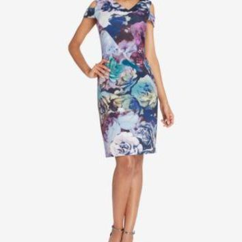 $134 New TAHARI ASL Women's Cold Shoulder Floral Berry Sheath Tunic Dress Size 14