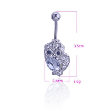 New Charming Dangle Crystal Navel Belly Ring Bling Barbell Button Ring Piercing Body Jewelry = 4804920580