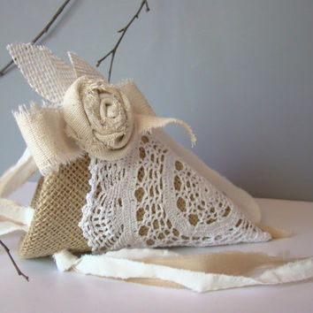 Flower Girl Basket, Wedding Flower Girl, Shabby Romantic, Petal Cone, Vintage Inspired, Burlap Wedding, Rustic Wedding, Farm Wedding Country