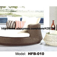 Luxury Leisure Lying Bed Rattan Sofa Bed with Cushion Coffee Table Swing Pool beach bed Sofa Round Rattan Sofa bed HFB010