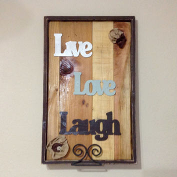 LIVE LOVE LAUGH Reclaimed Wood Signs - Wall Art, Reclaimed Wood, Reclaimed Wood Sign, Wall Decor, Home Decor, Rustic Home Decor, Wood Frame