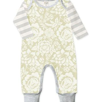Tesa Babe Mint & Gray Floral & Stripe Playsuit - Infant