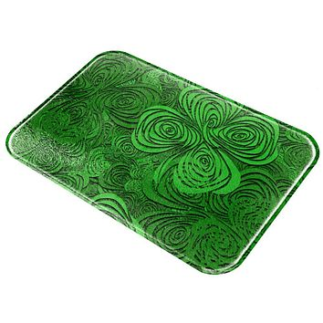 St Patricks Day Trippy Irish Clover Field All Over Glass Cutting Board