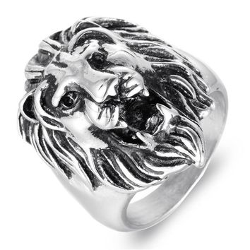 Titanium Steel Lion Head Man Ring Punk Personality Stainless Steel Lion Ring