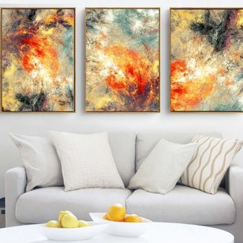 Modern abstraction 3 Pieces Canvas Paintings Modular Pictures Wall Art Canvas for Living Room Decoration No Framed