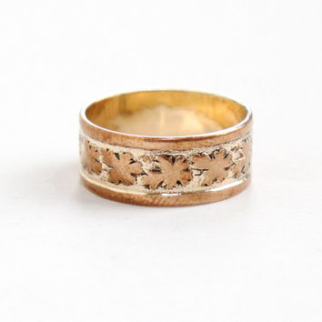 Vintage Art Deco 14k R.G.P. Leaf Motif Cigar Band Ring - 1940s Rolled Gold Plate Wedding Band Size 6 1/2 Jewelry