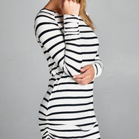 Best Seller! White & Black Stripe Ruched Side Tunic Top