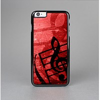 The Scratched Red Surface with Black Music Note Skin-Sert for the Apple iPhone 6 Skin-Sert Case