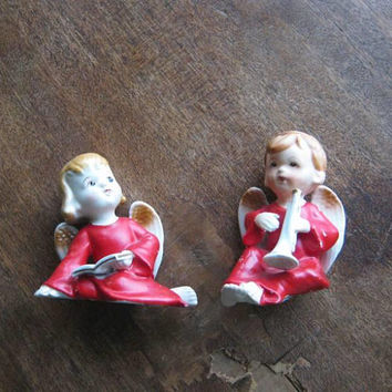 Set of 4 Adorable 1950s Red Angel Figurines; Girl/Boy Cherubs w/ Candles & Prayer Books by H.I. Co. Japan; U.S. Shipping Included