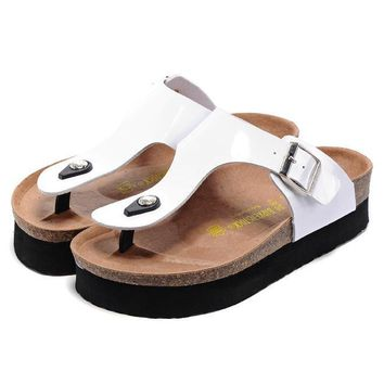Birkenstock Leather Cork Flats Shoes Women Men Casual Sandals Shoes Soft Footbed Slippers-33