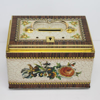 Vintage Bank Lock Box Tin with Lid and Handle in Floral Woodgrain
