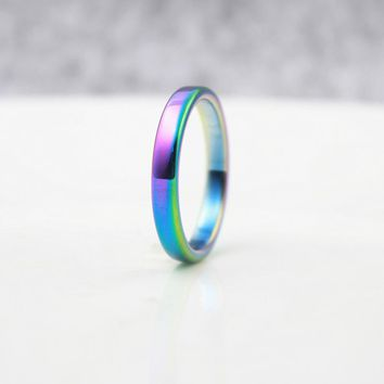 Fashion Jewelry Grade AAA Quality 4mm Width Flat Hematite Rings rainbow ( 1 Piece) HR1012