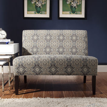 INSPIRE Q Wicker Park Blue Damask Armless Loveseat | Overstock.com Shopping - The Best Deals on Sofas & Loveseats
