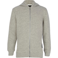 River Island Boys grey quilted hoodie