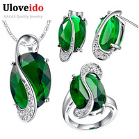 Green Crystal Jewelry Sets Bridal Wedding Necklace Earrings Peridot Ring  Purple/Red/Blue/Multicolor CZ Diamond Accessories T155