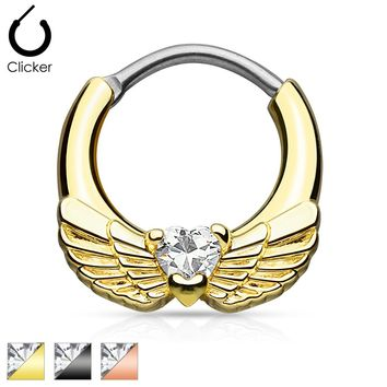 Angel Wings with Heart CZ Gold IP Septum Clicker