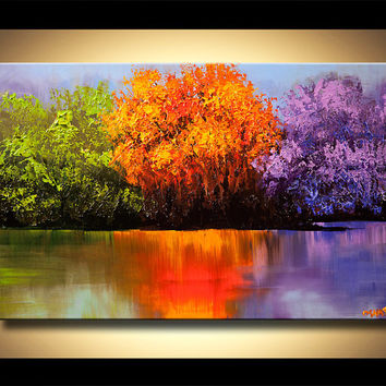 "50""  Colorful Landscape Trees Canvas Print Ready To Hang & embellished (brush strokes are added by the artist) Osnat"